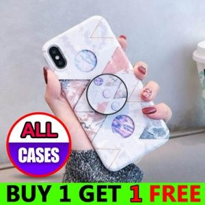 iPhone Max/XR/XS/X/7/8/Plus Marble Case W/Holder